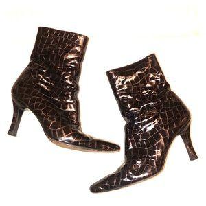 Stuart Weitzman Croco Print Heel Short Boots 7.5